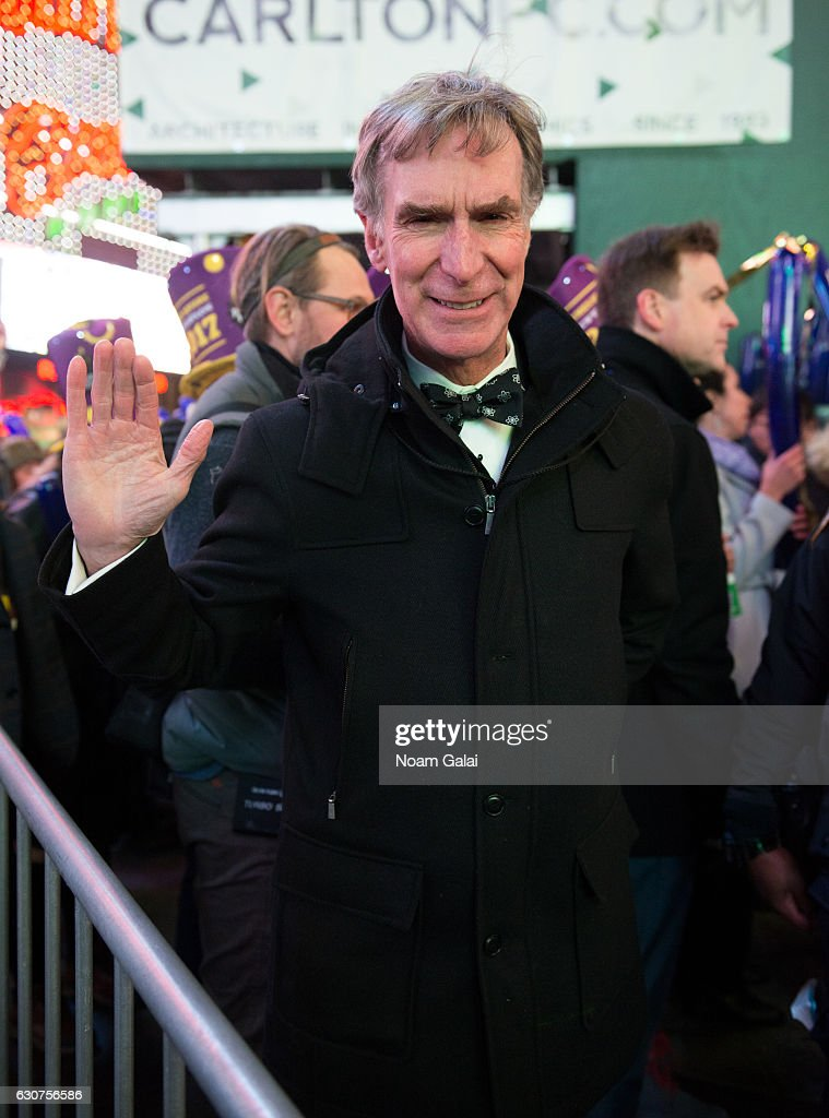 Bill Nye poses during New Year's Eve 2017 in Times Square on December 31, 2016 in New York City.