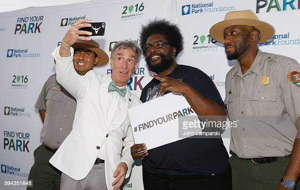 Bill Nye Questlove and Park Rangers attend the 100th Birthday of the National Park Service celebration at Brooklyn Bridge Park on August 22 2016 in...