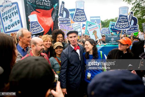 Bill Nye the Science Guy arrives to lead scientists and supporters down Constitution Avenue during the March for Science on April 22 2017 in...
