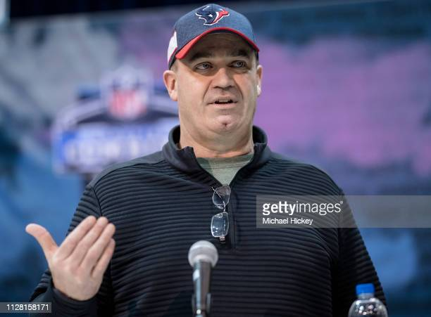 Bill O'Brien head coach of the Buffalo Bills is seen at the 2019 NFL Combine at Lucas Oil Stadium on February 28 2019 in Indianapolis Indiana