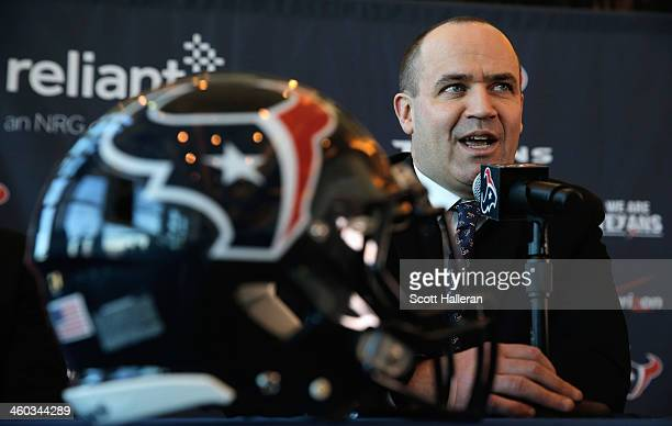 Bill O'Brien speaks to the media after being introduced as the new head coach of the Houston Texans at a press conference at Reliant Stadium on...