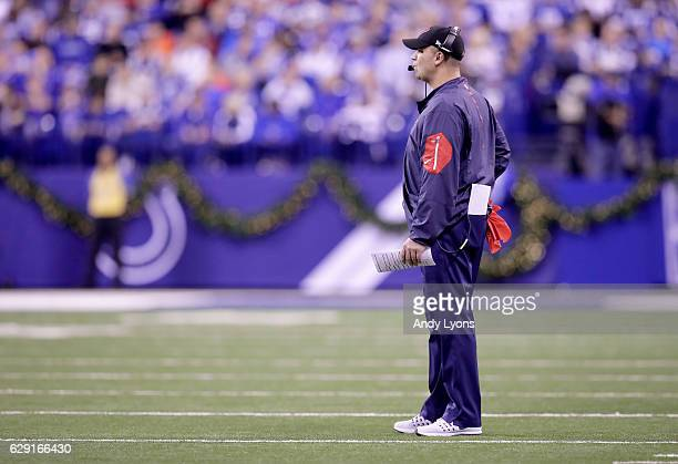 Bill O'Brien the head coach of the Houston Texans watches the action during the game against the Indianapolis Colts at Lucas Oil Stadium on December...