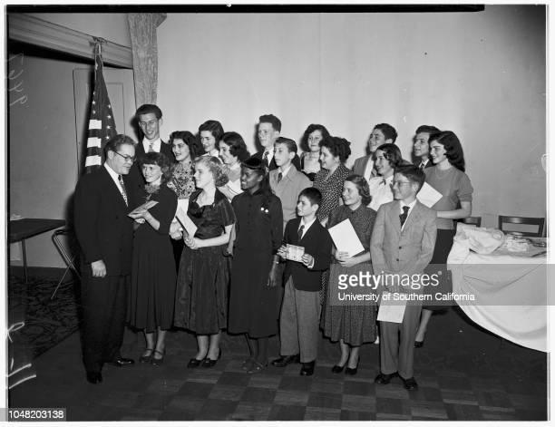 Bill of Rights essay winners 15 January 1952 Louis HamosJane AshbrookHarper WhitehouseSandra MetzgerArnold FeinbergWilliam Wittenberg Clara...