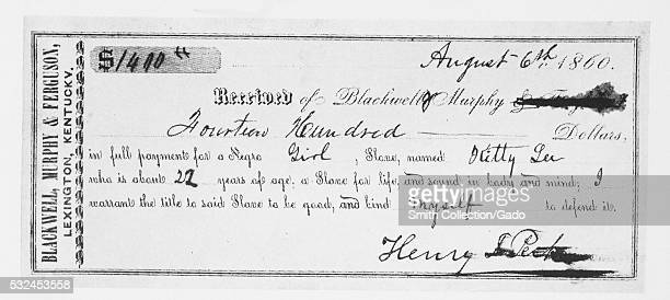 A bill of sale for a slave woman named Kitty Lee she is listed as being 22 years old and certified to be 'sound in body and mind' the price of the...