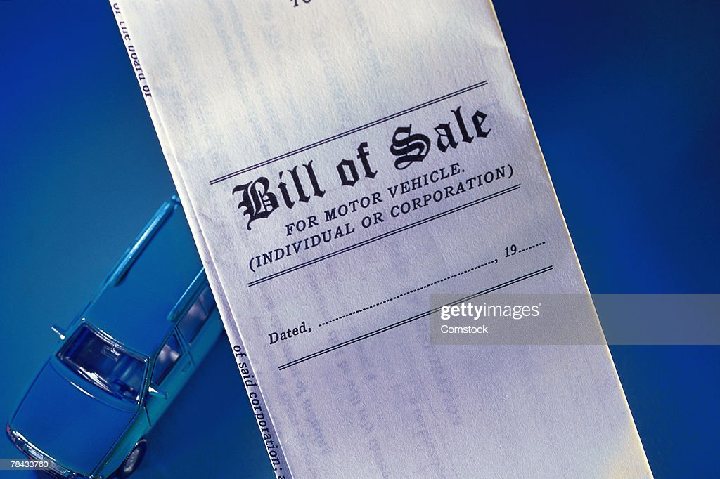 Bill of sale for motor vehicle : Stockfoto
