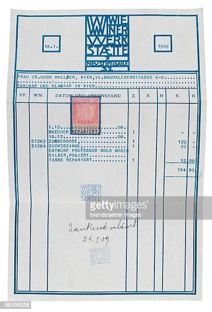 Bill of the Wiener Werkstaette printed by Chlawa Vienna [Rechnung Wiener Werkstaette Druck Chwala Wien]