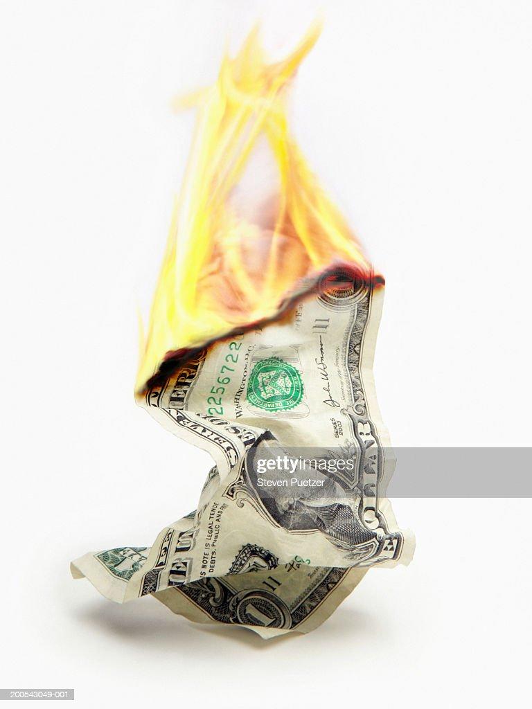 USA $1 bill on fire (Digital Enhancement) : Stock Photo