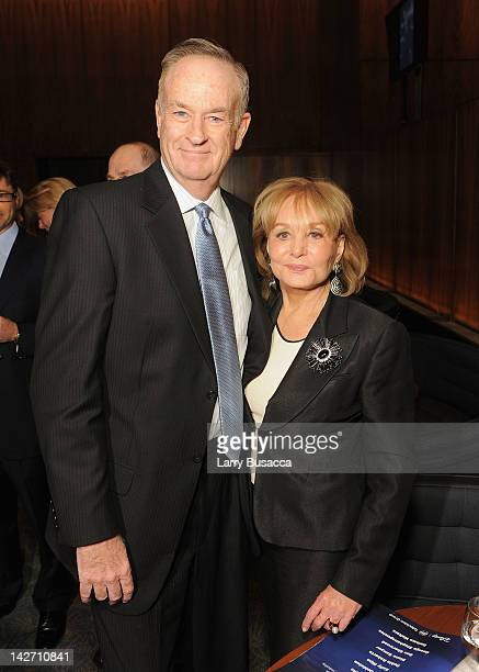 Bill O'Reilly and Barbara Walters attend the Hollywood Reporter celebration of 'The 35 Most Powerful People in Media' at the Four Season Grill Room...