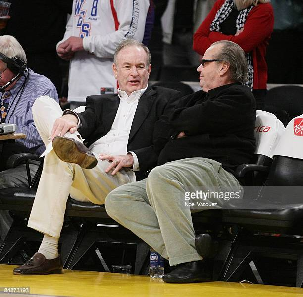 Bill O'Reilly and Jack Nicholson attend the Los Angeles Lakers vs Atlanta Hawks game at the Staples Center on February 17 2009 in Los Angeles...