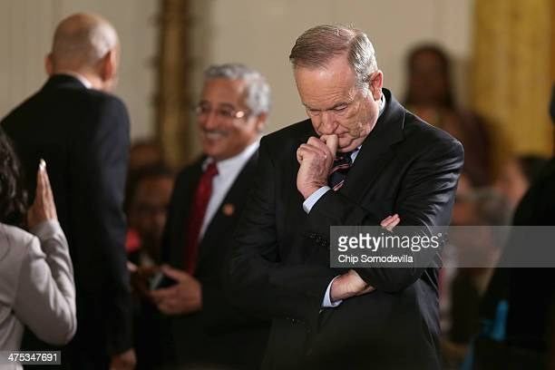 Bill O'Reilly host of FOX News Channel's The O'Reilly Factor waits for the arrival of US President Barack Obama during an event about Obama's 'My...