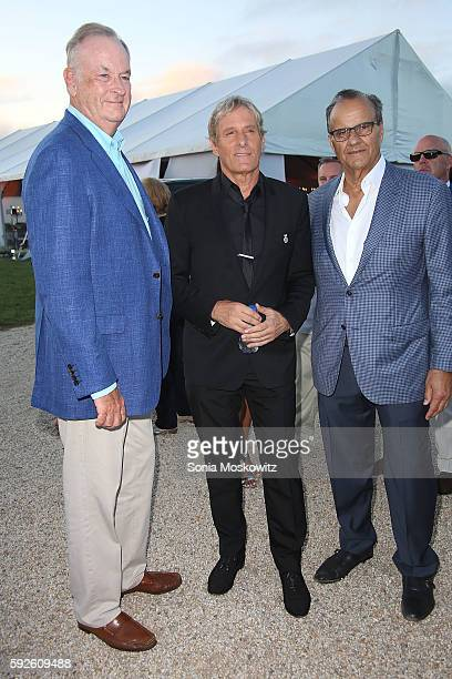 Bill O'Reilly Michael Bolton and Joe Torre attend the 2016 Michael Bolton Charities Fundraiser 'An Evening Under the Stars' at a Private Estate on...