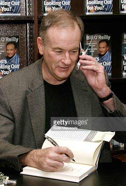 """Bill O'Reilly sign copies of """"Who's Looking Out For You ?"""" February 20, 2004 at Barnes and Noble at the Grove in Los Angeles, California."""