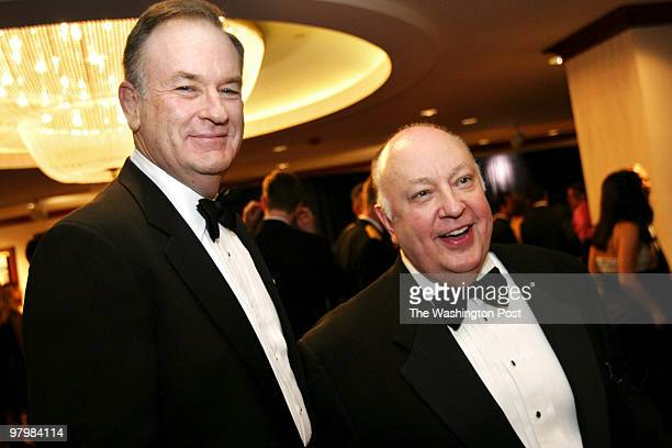 Bill O'Reilly tv columnist at left shown here with Roger Ailes Chairman and CEO of FOX tv at the Radio TV Correspondents annual dinner held at the...