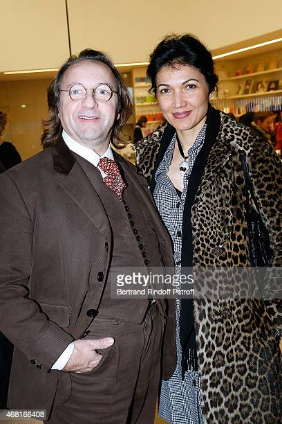 Bill Pallot and Bina Daswani attend the 'Les Clefs d'une Passion' Exhibition Preview Held at Fondation Louis Vuitton on March 30 2015 in Paris France