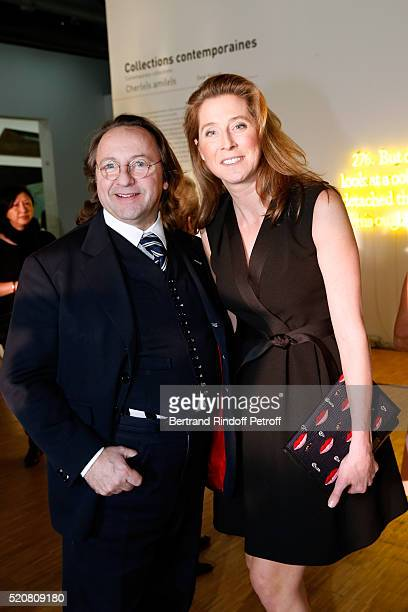 Bill Pallot and Galerist Marella Rossi attend the Societe des Amis du Musee d'Art Moderne du Centre Pompidou Dinner Party Held at Centre Pompidou on...