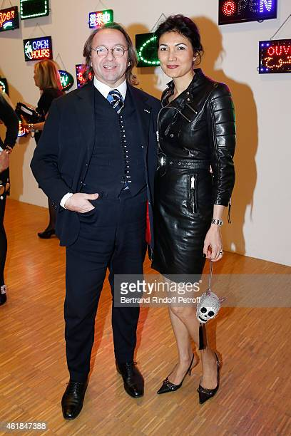 Bill Pallot and his companion Dina Daswani Lloyd attend the 'Societe des Amis du Musee National d'Art Moderne' Dinner at Beaubourg on January 20 2015...