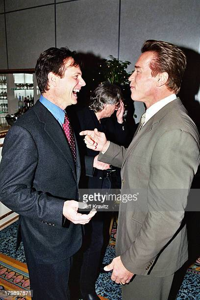 Bill Paxton and Arnold Schwarzenegger during 2000 NATO/Showest Convention at Paris Hotel in Las Vegas Nevada United States