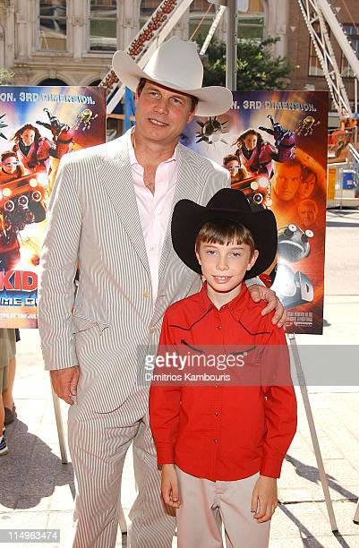 Bill Paxton and son James Paxton during Spy Kids 3D Game Over World Premiere Arrivals at Paramount Theatre in Austin Texas United States