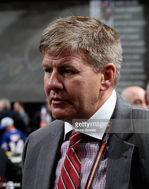 Bill Peters head coach of the Carolina Hurricanes is seen on Day Two of the 2014 NHL Draft at the Wells Fargo Center on June 28 2014 in Philadelphia...