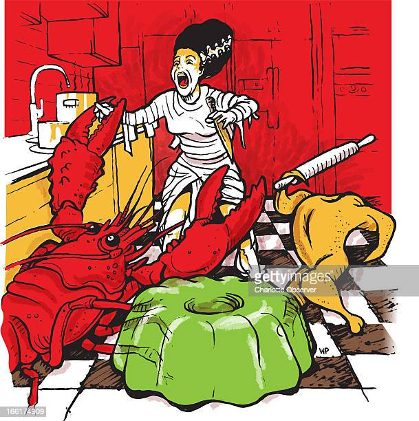 Bill Pitzer color illustration of a woman dressed like the Bride of Frankenstein being attacked by a giant lobster a headless chicken and green jello...