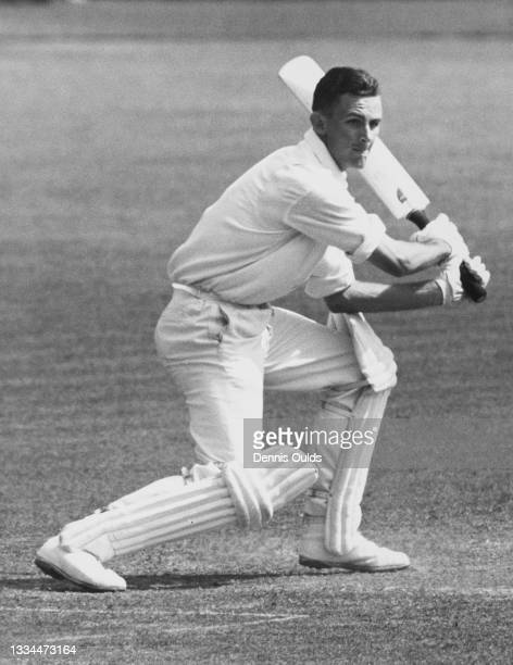 Bill Playle , of New Zealand and a right arm off break spin bowler for the touring New Zealand cricket team plays a late cut against the bowling of...
