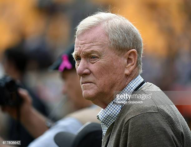 Bill Polian ESPN analyst member of the Pro Football Hall of Fame and former executive at several National Football League teams looks on from the...