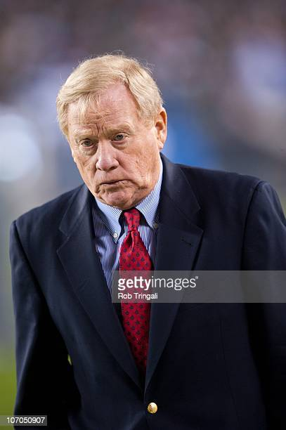 Bill Polian president of the Indianapolis Colts looks on during a game against the Philadelphia Eagles on November 7 2010 at Lincoln Financial...