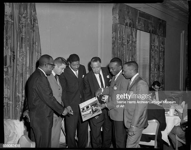 Bill Powell Guy LaBalm Kenneth Hawthorne Frank Bolden Walt Harper holding record album and Luther Sewell posed in Penn Sheraton Hotel for 1966...