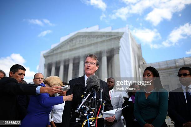 Bill Powers President of the University of Texas at Austin speaks to the media after attending arguments at the US Supreme Court Supreme on October...