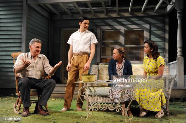 Bill Pullman as Joe Keller Colin Morgan as Chris Keller Sally Field as Kate Keller and Jenna Coleman as Ann Deever in Arthur Miller's All My Sons...