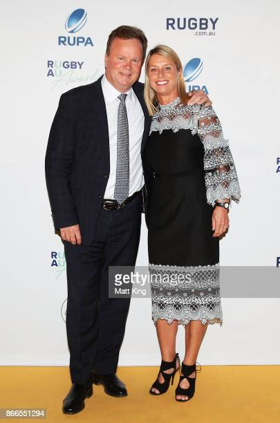 Bill Pulver and Belinda Pulver arrive ahead of the 2017 Rugby Australia Awards at Royal Randwick Racecourse on October 26 2017 in Sydney Australia