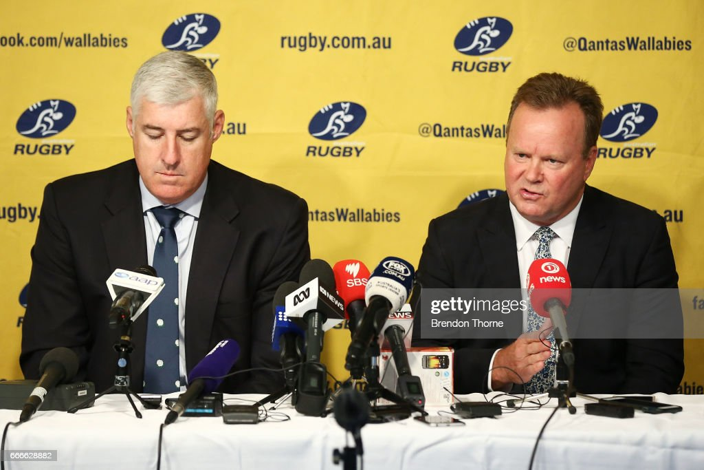 Bill Pulver, CEO of Australian Rugby Union and Cameron Clyne Chairman of Australian Rugby Union, speak to the media during an ARU press conference at ARU HQ on April 10, 2017 in Sydney, Australia.