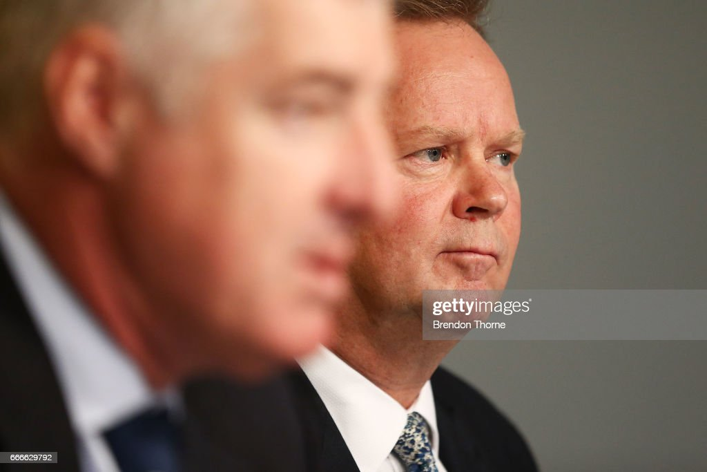 Bill Pulver, CEO of Australian Rugby Union, speaks to the media during an ARU press conference at ARU HQ on April 10, 2017 in Sydney, Australia.