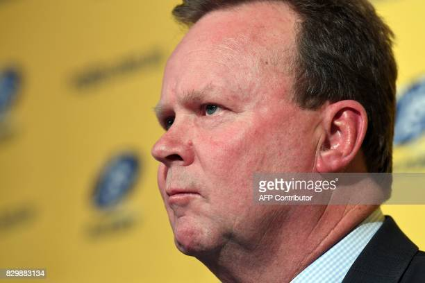 Bill Pulver CEO of the Australian Rugby Union takes part in a press conference at ARU headquarters in Sydney on August 11 2017 Australia's Western...