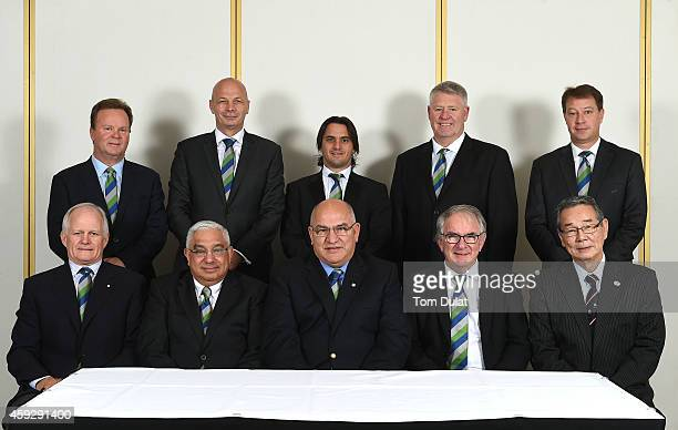 Bill Pulver Greg Peters Agustin Pichot Steve Tew Jurie Roux and Michael Hawker AM Mark Alexander Carlos Araujo Brent Impey and Tatsuzo Yabe pose for...