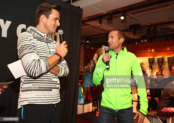 Bill Rancic and Dathan Ritzenhein attend the Nike Run Club event at Nike Chicago on October 4 2012 in Chicago Illinois