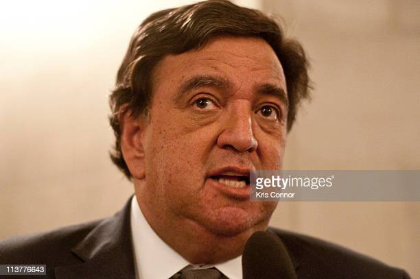 Bill Richardson speaks with a reporter during the Refugees International's 32nd Anniversary Dinner at Andrew W Mellon Auditorium on May 5 2011 in...