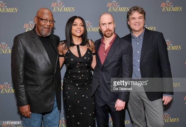 Bill Riddick Taraji P Henson Sam Rockwell and Robin Bissell attend a photo call for 'The Best Of Enemies' on March 17 2019 in New York City