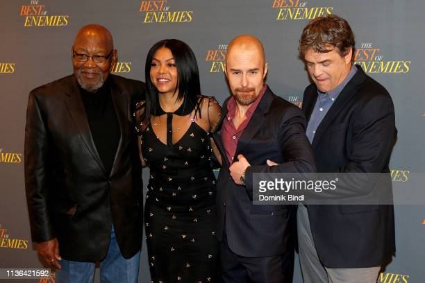 Bill Riddick Taraji P Henson Sam Rockwell and Robin Bissell attend 'The Best Of Enemies' New York Photo Call at the Whitby Hotel on March 17 2019 in...