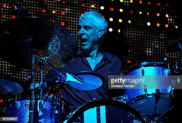 Bill Rieflin of REM performs at Old Trafford on August 24 2008 in Manchester England
