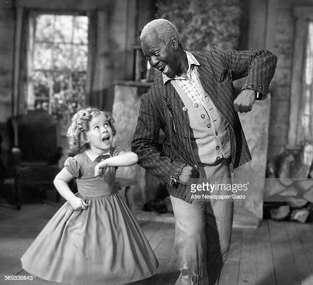 Bill Robinson aka Mr Bojangles on a film set with child actress Shirley Temple January 23 1936