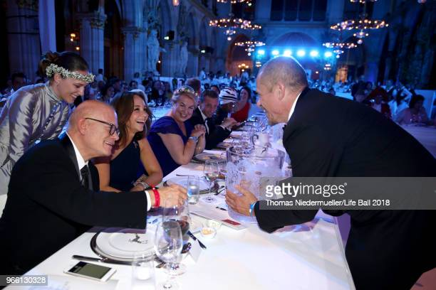 Bill Roedy and Gery Keszler attend the LIFE Solidarity Gala prior to the Life Ball at City Hall on June 2 2018 in Vienna Austria The Life Ball an...