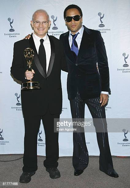 Bill Roedy President of MTV Networks International winner of the 'Founders' award with presenter and musician Lenny Kravitz at the 32nd International...