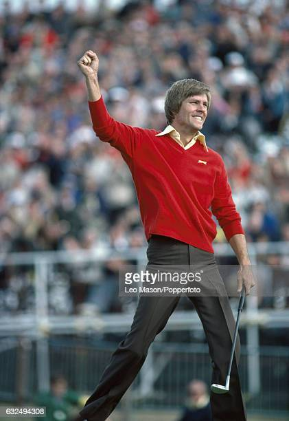 Bill Rogers of the USA celebrates winning the British Open Golf Championship at Royal St George's Golf Club in Sandwich on 19th July 1981