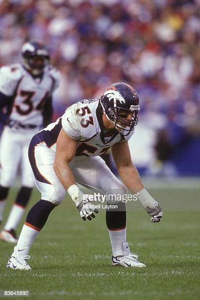 Bill Romanowski of the Denver Broncos during a NFL football game against the New England Patriots on October 24 1996 at Gillette Stadium in Foxsboro...
