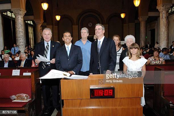 Bill Rosendahl, Antonio Villaraigosa, Brian Wilson, Melinda Wilson, Jack Weiss, Rose Ledbetter, Daria Wilson and Delanie Wilson attend the Brian...
