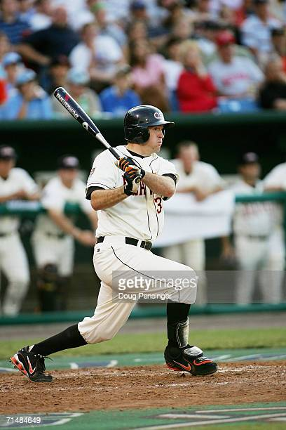 Bill Rowe of the Oregon State Beavers bats against the North Carolina Tar Heels during game two of the NCAA College World Series Baseball...