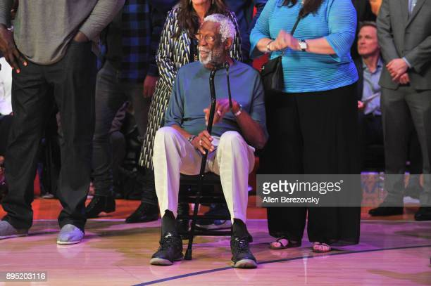 Bill Russel attends Kobe Bryant's jersey retirement ceremony during halftime of a basketball game between the Los Angeles Lakers and the Golden State...