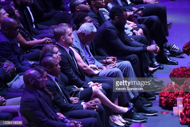 Bill Russell and James Harden attend The Celebration of Life for Kobe Gianna Bryant at Staples Center on February 24 2020 in Los Angeles California