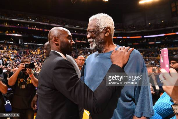 Bill Russell and Kobe Bryant greet after the jersey retirement ceremony on December 18 2017 at STAPLES Center in Los Angeles California NOTE TO USER...